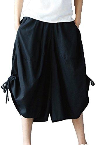長いです光沢悪いHeaven Days(ヘブンデイズ) リネン 綿麻 パンツ コットン ズボン ワイドパンツ 緩い 裾紐 ウエストゴム ポケット キュロット 7分丈 レディース 1706K1018