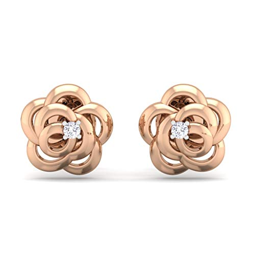 (Perrian Certified 18K Rose Gold 0.02 Carat (SI2 Clarity, GH Color) Round Diamond Earrings for Women)