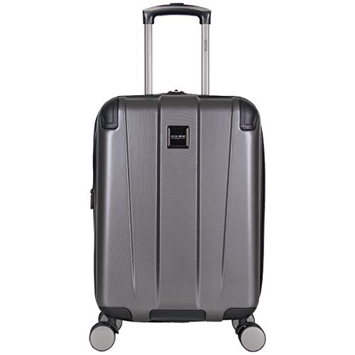 """Kenneth Cole Reaction Continuum 20"""" Hardside 8-Wheel Expandable Upright Carry-on Spinner Luggage, Charcoal"""