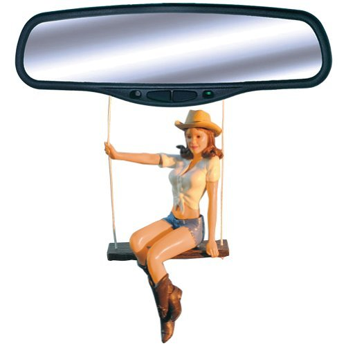 Car Mirror Swinging Cowgirl: Hang Her From Your Rear View Mirror