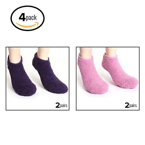 Pembrook Non Skid Ankle Socks - Ankle Style Hospital Socks - Fuzzy Slipper Socks - (4-Pack) 2 Purple / 2 Pink - Hospital Style Stockings