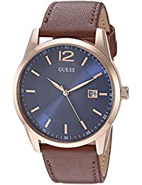 Brown + Blue Genuine Leather Watch with Date Function. Color: Brown (Model: U1186G3)