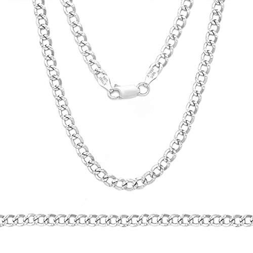 - Sterling Silver .925 3mm Pave Curb Link Chain Necklace, Made in Italy (16)