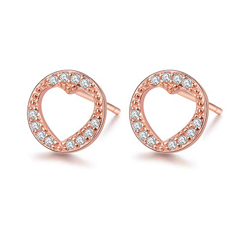 14k Heart Beaded (14K Rose Gold Circle Crawel Sterling Silver Beaded Open Heart Stud Earrings Micro Pave Jewelry for Women Girls)