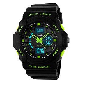 GIGA Beswlz Men's Military Design Multifunctional Dual Time Zones Quartz Analog-Digital Rubber Band Sports Wrist Watch