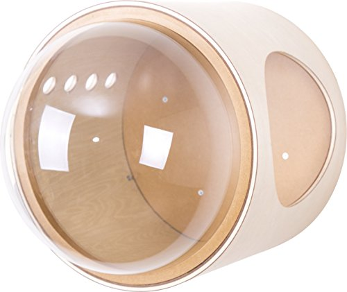 MYZOO Spaceship Gamma, Pet Bed for Cat & Dog, Window Perch, Cat Tree, Made of Wood (Light Brown, Open Right)