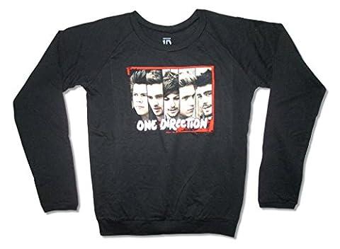 One Direction Face Bars Image Long Sleeve Girls Juniors Shirt (L) (1 Direction Tour Shirt)