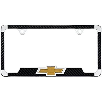 Amazon.com: Chevy 3D Bowtie Carbon Fiber Vinyl Inlay License Plate ...