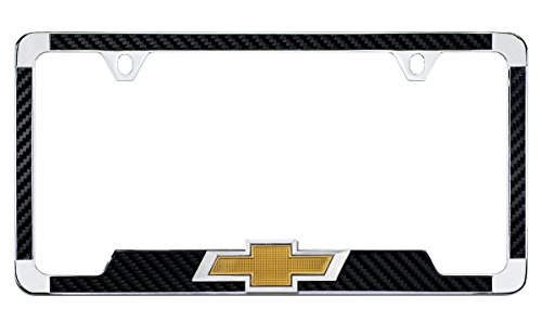 Chrome Plated License Frame with Simulated Carbon Fiber Inlays and 3D Chevy Bowtie (Black)