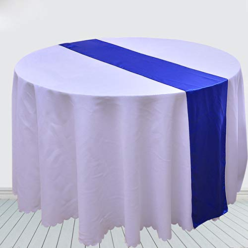 (10-Pack Satin Table Runners 12 x 108 inch for Wedding Table Runners Fit Rectangle and Round Table Decorations for Birthday Baby Shower Engagements Party - Sapphire Blue)