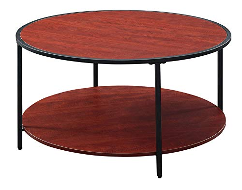 Convenience Concepts Tucson Metal Round Coffee Table, Cherry/Black (Table Coffee Melamine)