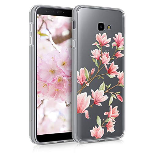 kwmobile TPU Silicone Case for Samsung Galaxy J4+ / J4 Plus DUOS - Crystal Clear Smartphone Back Case Protective Cover - Light Pink/White/Transparent