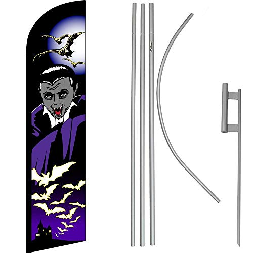 ALBATROS Halloween Vampire Windless Banner Flag with 16in Flagpole Kit/Ground for Home and Parades, Official Party, All Weather Indoors Outdoors -