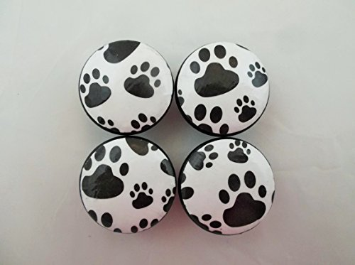 Paw Cabinet - Set of 4 Black and White Paw Prints Cabinet Knobs