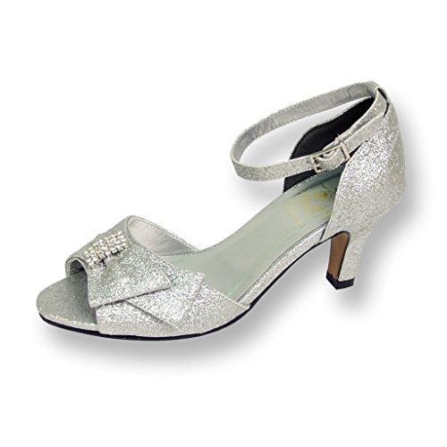 Floral Women's Elisa Metallic Synthetic Silver Pump (Womens Metallic Bridal Shoes)