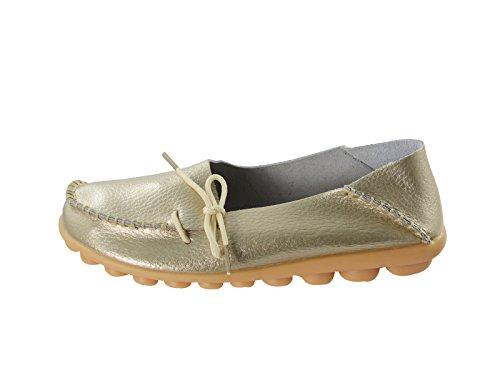 Secolo Stella Donna Casual In Pelle Di Mucca Slip-on Slip-on Driving Mocassino Mocassino Pantofole Pantofole Scarpe Da Barca Oro