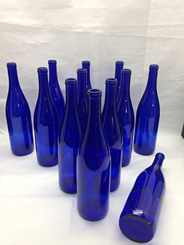 12 - Deep Cobalt Blue Stretch Neck Hock Flat Bottom 750ml for Bottle Trees, Crafting, Parties,Wedding Center Piece, Decor, Home Brew, Beer, Wine