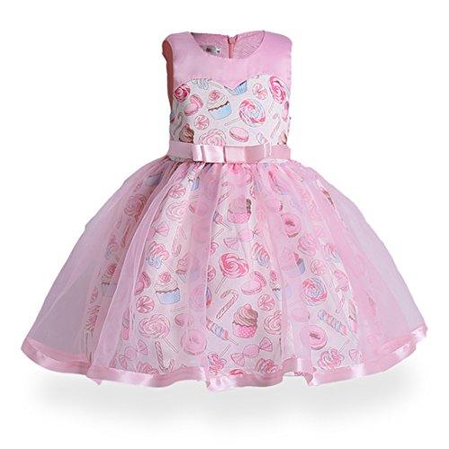 (Girls Sleeveless Ice Cream Print Round Neck Cotton Party Dresses 3-8Years(140))