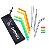 #10: Reusable Straws with Case, 4 Stainless Steel Straws & 4 Silicone Straws for 30 oz&20 oz Tumblers, Straws Drinking Reusable Fits RTIC&YETI Cups with 2 Brushes + 4 Silicone Tips
