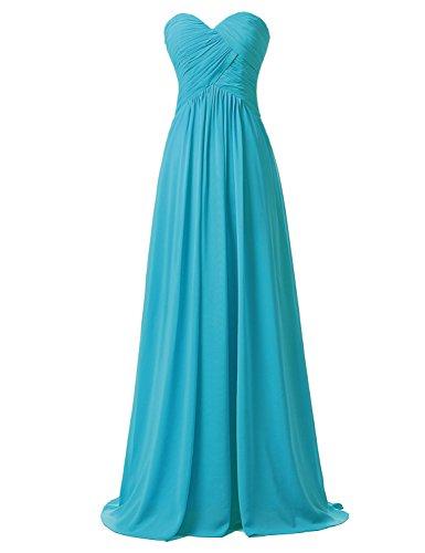 Abendkleid Damen Herzform Chiffon BrautjungfernKleid CSD182 Lange Maxikleid Clearbridal Pfau IwPq4