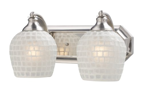 Elk 570-2N-WHT-2 Light Vanity in Satin Nickel and White Mosaic Glass