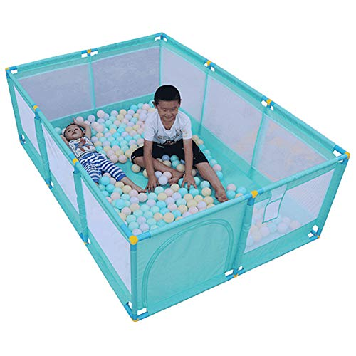 Olpchee Portable Folding Baby Playpen Playard Rectangle Toddlers Play Yard with Door Activity Center Child Play Game Fence (Green)