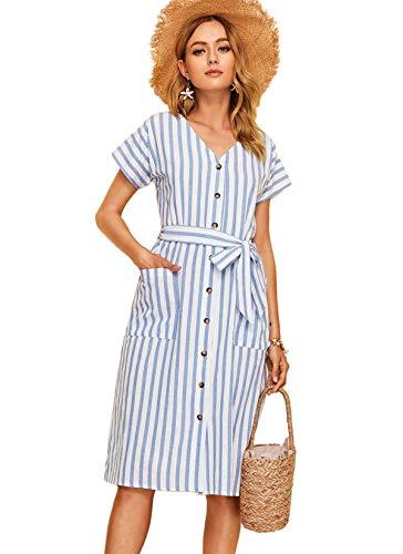Milumia Women Striped Pocket Front Button Up V Neck Belted Dress