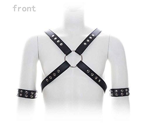 Diy Bodysuit Costume (Male Sexy Leather Body Harness Chest Belt Straps with Arm Binders Men Goth Gothic Bodysuit Costume)