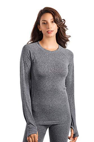 +MD Women's Seamless Crew Neck Long Sleeve T-Shirt Thumb Hole Thermal Underwear Shirt Base Layer Top Tee Dark Grey M