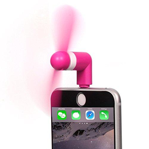 Daker iPhone Fan Rotatable Portable 8-pin Rotating Fan Cool For iPhone 7 Plus 7 6S Plus 6S iPhone 6 / 6 Plus / iPhone SE / 5S (Rose Red)