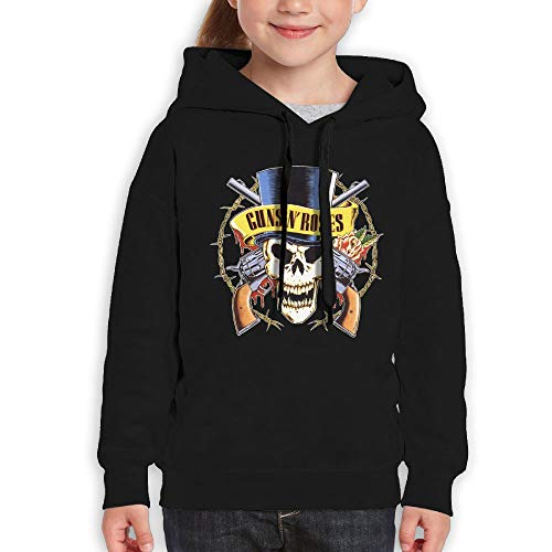 Guiping Guns N Roses1 Youth Pullover Hooded Sweatshirt Black M by Guiping Wang Gold