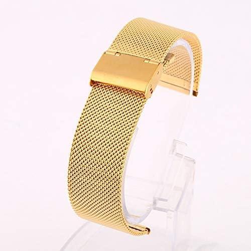 Bracelets de Montres pour Fille 12-22mm Universelle en Acier Inoxydable Bracelet Montre en métal Bracelet Bracelet Bande Argent Noir Or Rose (Color : Hot Pink)