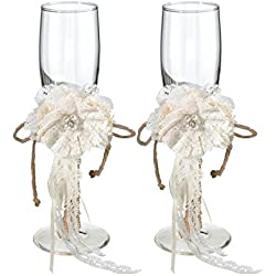 Lillian Rose Rustic Country Burlap Wedding Toasting Glasses