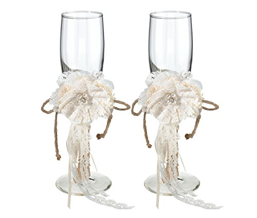 Lillian Rose Toasting Glasses - Lillian Rose Rustic Country Burlap Wedding Toasting Glasses