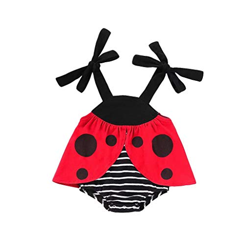 LXXIASHI Newborn Infant Baby Girls Costume Sleeveless Ladybug Striped Romper Onesies Summer Sunsuit Outfit Red