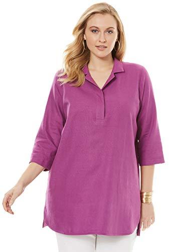 (Jessica London Women's Plus Size A-Line Linen Tunic - Radiant Orchid, 16 W)