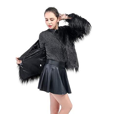 ZWWZ Ladies Women Long Sleeve Warm Fluffy Faux Fur Coat Jacket Winter Solid Color Outwear