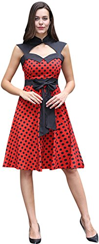 Jeansian Mujer Vintage Vestido Sin Mangas Moda Dress Stitching Retro Evening Cocktail Gown Dresses WHS451 Red