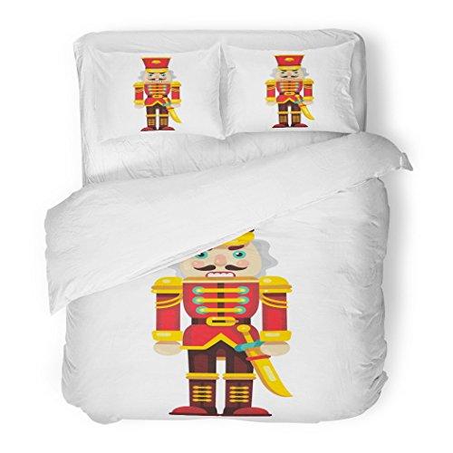 Set Red Ballet Nutcracker Sword Flat Style Cartoon Character Christmas Decorative Bedding Set Pillow Sham Twin Size ()