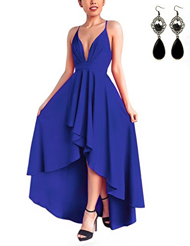 90978cfe91c WAEKIYTL Women Sexy V Neck Asymmetrical Dress High Low Evening Party Dress  Formal Prom
