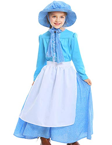 A&J DESIGN Child Girls Pioneer Costume Dress with Hat (Sky Blue, Medium) -
