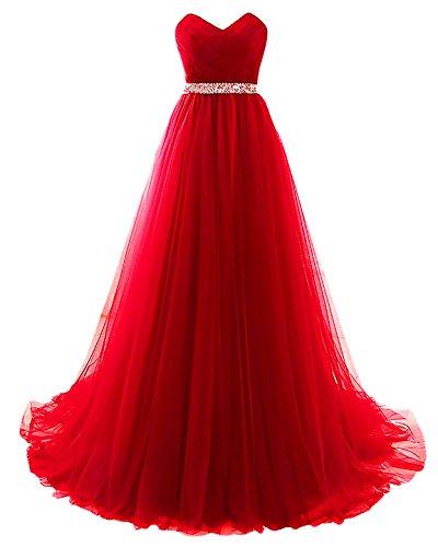 Yinyyinhs Perles Formelle De Robe De Soirée Des Femmes Sur Les Robes De Bal Empire En Tulle Taille Longue Rouge