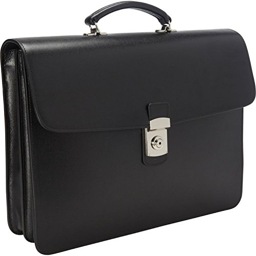 (Royce Leather Luxury Double Gusset Briefcase Handcrafted in Saffiano Leather, Black)