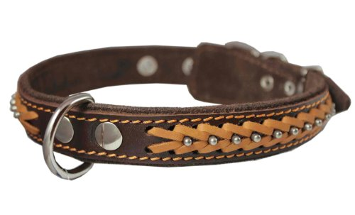 (Genuine Leather Braided Studded Dog Collar, Brown 1
