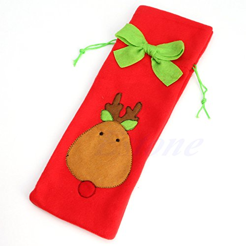 MEXUD-Christmas Xmas Santa Tree Suit Costume Wine Bottle Wrap Cover Pouch Bag Decor (Elk) (Homemade Reindeer Costume)