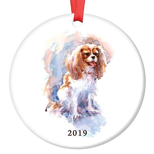 (Spaniel Dog 2019 Christmas Ornament Beautiful Watercolor Cavalier King Charles Spaniel Ceramic Keepsake Present Family Lapdog Pet Adopted Puppy 3