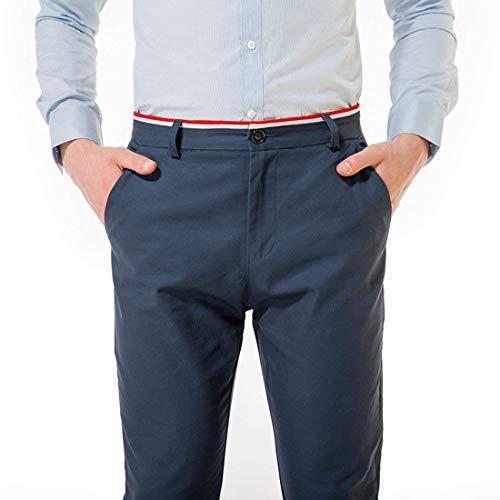 Pantalones Hombres Cómodo Battercake Largos De Navy Planos Blau Tela Casuales Para Hombre Chinos dHxnwFwq