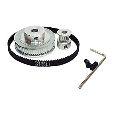 BEMONOC HTD 2GT Timing Belt Pulley Kits GT2 Timing Belt Closed-loop 200mm Pulley 16 Teeth and 60 Teeth for 3D Printer Accessories