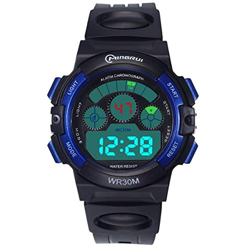Kids Digital Watch LED Sports 30M Waterproof Electronic Watches with Alarm Clock 12/24 H Stopwatch Calendar Week Multifunction Wrist Watch for Boy Girl 5-15 Years Old (Blue)