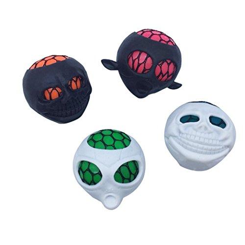 Livoty Terror Skull Mesh Balll Grape Balls Squeeze Bath Toy Pressure Stress Relief Toy (Random - Squishy Ball Skull